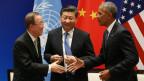 Uno-Generalsekretär Ban Ki Moon gratuliert US-Präsident Obama und dem chinesischen Präsidenten Xi.
