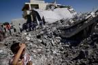 Zerstörtes Haus in einem Vorort von Aleppo