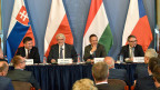 Die vier Aussenminister der Länder der Visegrad-Gruppe an einer Pressekonferenz Ende August 2016 (vlnr. Miroslav Lajcak, Slowakei, Witold Waszczykowski, Polen, Peter Szijjarto, Ungarn und Lubomir Zaoralek Tschechien).