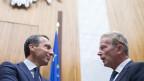 Die EU ist gespalten. Im Bild: der österreichische Bundeskanzler Christian Kern (links) und Vize-Kanzler Reinhold Mitterlehner vor Beginn einer Parlamentarischen Enquete zum Thema «CETA und TTIP».