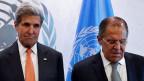 Ihre Geduld mit Russland sei zu Ende: Mit diesen Worten haben die USA die Gespräche über eine Waffenruhe für Syrien beendet. Bild: US-Aussenminister John Kerry und der russische Aussenminister Sergej Lawrow.