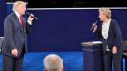 Hillary Clinton und Donald Trump während der zweiten TV-Debatte am 9. Oktober 2016.