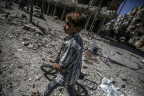 Nach einem Angriff in einem Vorort von Damaskus