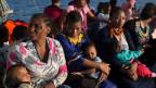 Flüchtlingsfrauen aus Nigeria. Sie wurden im Mittelmeer gerettet.