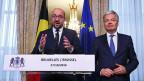 Der belgische Premier Charles Michel und Aussenminister Didier Reynders in formieren über die innerbelgische Einigung zum CETA-Abkommen.