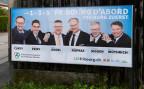 Ein Wahlplakat der sechs bürgerlichen Kandidaten für den Freiburger Staatsrat.