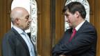 Der Zürcher SP-Ständerat Daniel Jositsch vom rechten Parteiflügel im Gespräch mit SP-Präsident Christian Levrat.