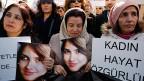 «Frauen. Leben. Freiheit», steht auf einem Plakat an einer Kundgebung gegen häusliche Gewalt in Istanbul. Türkische Frauen haben eine lange Tradition im Kampf um ihre Rechte.