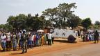UNO-Blauhelme in einem Flüchtlingscamp bei Bangui, der Hauptstadt der Zentralafrikanischen Republik.