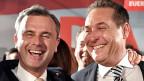 Lachende Verlierer: Wahlverlierer Norbert Hofer und FPÖ-Parteichef Heinz Christian Strache.