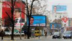 Wahlplakate entlang einer Strasse in der mazedonischen Hauptstadt Skopje.