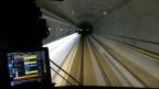 Blick aus dem Führerstand des ersten Güterzuges, der durch den neuen Gotthard-Basistunnel.