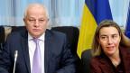 Der NATO-Russland-Rat trifft sich auf Botschafterebene im NATO-Hauptquartier in Brüssel. Auf der Traktandenliste stehen Themen der europäischen Sicherheit und insbesondere die Ukraine-Frage. Bild: Erster ukrainischer Vize-Premier Kubiw und EU-Aussenbeauftragte Mogherini.