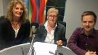 Ivana Pribakovic, Gesprächsleiterin; Iren Meier, SRF-Auslandredaktorin mit Schwerpunkt Türkei und Iran; Martin Aldrovandi, SRF-China-Korrespondent.