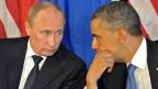 US-Präsident Barack Obama (recht) im Gespräch mit dem russischen Präsidenten Wladimir Putin während ihres Treffens vor G20-Gipfel in Los Cabos, Mexiko.
