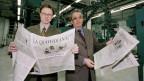 Im Januar 1997 erscheint zum ersten Mal «La Quotidiana» in Chur. Im Bild der damalige Chefredaktor Enrico Kopatz und Verleger Hanspeter Lebrument.