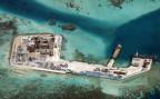 Eine Luftaufnahme des Chigua Riffs, das von China künstlich vergrössert und ausgebaut worden ist.