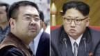 Das Bild zeigt zwei Porträts: rechts der nordkoreanische Diktator Kim Jong Un und links sein Halbbruder Kim Jong Nam