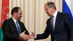 Der afghanische Aussenminister Rabbani und sein russischer Amtskollege Lawrow bei einem Treffen in Moskau am 7. Februar.