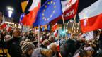 Demonstration gegen die Regierung in Warschau.