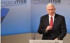 US-Vizepräsident Mike Pence bei seiner Grundsatzrede an der Münchner Sicherheitskonferenz im Hotel Bayrischer Hof.