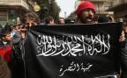 Die Fahne der Nusra-Front, die der Al Kaida nahesteht undund die Söldnerdienste von Malhama Tactical in Anspruch nimmt.