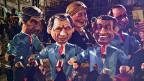 François Fillon, François Bayrou, Marine Le Pen, Nicolas Sarkozy und François Hollande – am Karneval in Nizza.