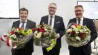 Roland Heim (CVP, bisher), Regierungsrat Remo Ankli (FDP, bisher), und Regierungsrat Roland Fürst (CVP, bisher),