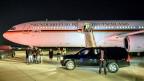 Das Flugzeug mit der deutschen Bundeskanzlerin Angela Merkel ist in Washington gelandet.