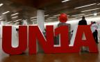 Der Schriftzug der Gewerkschaft Unia.