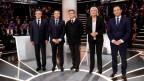 Die Kandidierenden Fillon, Macron, Mélenchon, Le Pen und Hamon (von links nach rechts).