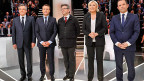 Die fünf, die für die Präsidentschaft kandidieren: François Fillon, «les Républicains»; Emmanuel Macron, «En Marche!»; Jean-Luc Melenchon, «La France insoumise»;  Marine Le Pen, «Front National» ; Benoît Hamon, «Parti Socialiste».