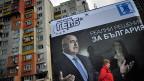 Ein Wahlplakat in der bulgarischen Hauptstadt Sofia wirbt für die liberal-konservative Partei GERB.