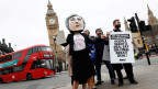 Anti-Brexit-Demonstranten vor dem Parlament in London am 29. März 2017.