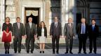 EU-Aussenbeauftragte Federica Mogherini links aussen, neben ihr die Aussenminister Deutschlands, der USA, Kanadas, Italiens, Frankreichs, Grossbritanniens und Japans. Gruppenbild anlässlich des G7-Aussenministertreffens im italienischen Lucca.