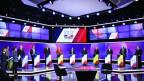 Die elf Kandidatinnen und Kandidaten für die französische Präsidentschaft an ihrem letzten Fernseh-Duell vom 20. April 2017.