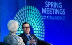 IWF-Direktorin Christine Lagarde und US-Finanzminister Steven Mnuchin bei einer Podiumsdiskussion während der IWF-Frühlingstagugung.