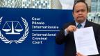 Anwalt Jude Sabio ausererhalb des Internationalen Strafgerichtshofs (ICC) in Den Haag.
