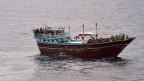 Ein Piratenschiff das von der dänischen Marine gestoppt wurde. 14 iranische und pakistanische Geiseln wurden am 8. Januar 2012 an der somalischen Küste befreit.
