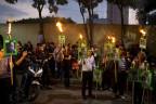 Proteste gegen die Ermordung des Journalisten Javier Valdez vor dem mexikanischen Innenministerium