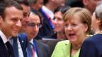 Emmanuel Macron (vorne links) und Angela Merkel am EU-Gipfel 2017 in Brüssel.