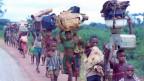 Biafranische Flüchtlinge fliehen vor nigerianischen Truppen in der Nähe von Ogbaku, Nigeria am 5. August 1968.