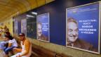 Plakate in Budapest, Ungarn, mit George Soros und dem Spruch «Lassen wir nicht zu, dass er das letzte Lachen hat».