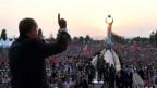Der türkische Präsident Erdogan hält eine Rede vor der Gedenkstätte, die an den Putschversuch erinnern soll.