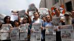 Proteste vor dem Gerichtsgebäude in Istanbul.