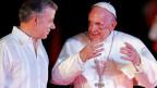 Papst Franziskus und der kolumbianische Präsident Juan Manuel Santos im Gespräch.