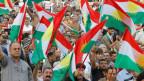 Menschen, die das bevorstehende Unabhängigkeitsreferendum am 25. September unterstützen in Kirkuk, Irak.