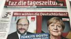 Titelblatt der TAZ vom 21. September 2017. Bild: Peter Voegeli.
