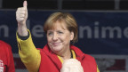 Angela Merkel - der Wahlkampf-Auftritt vor dem Sanitätszelt.