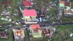 Zerstörte Häuser auf der Insel Dominica.